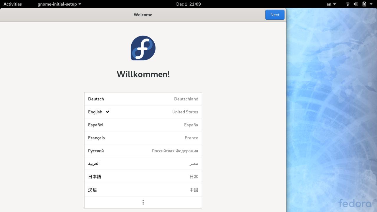 Gnome Initial Setup - Language picker