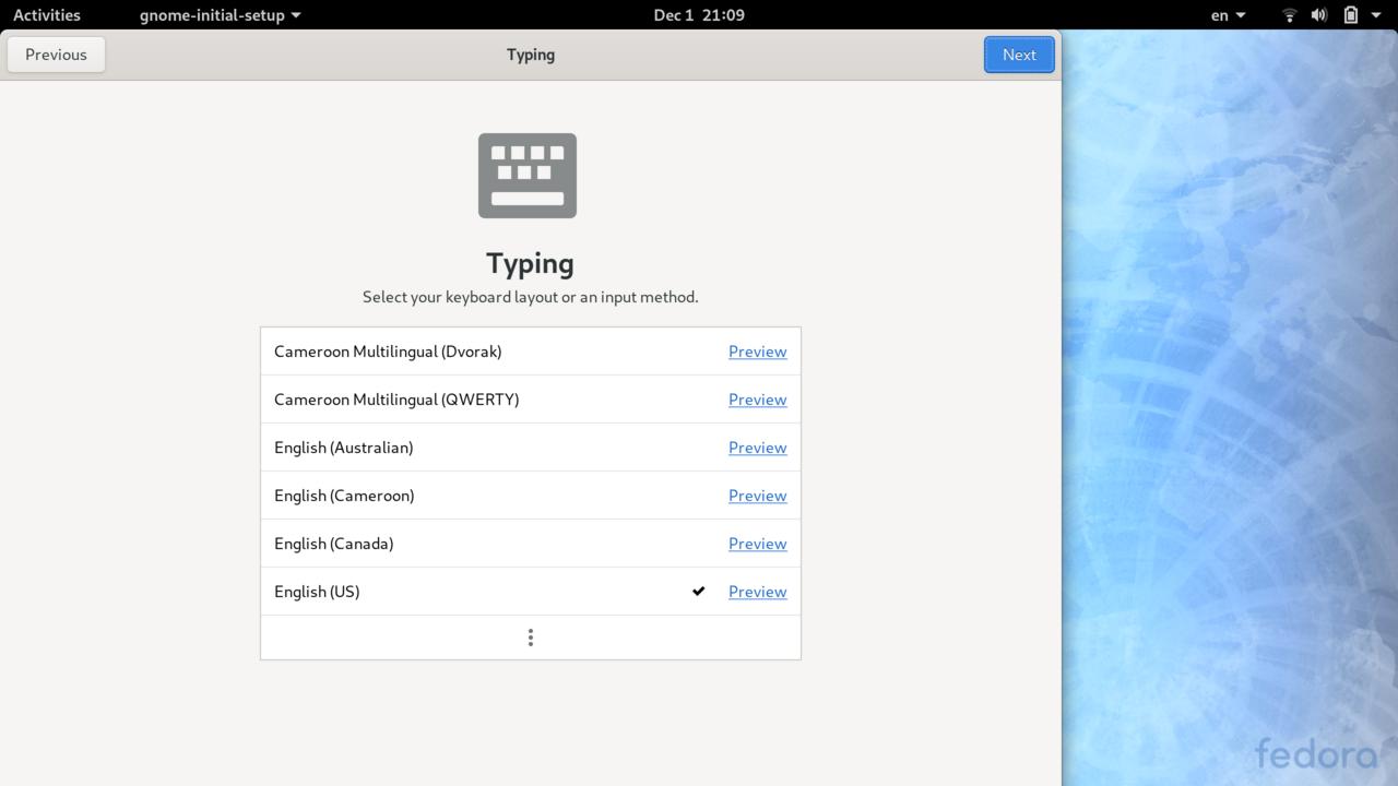 Gnome Initial Setup - Keyboard Layout