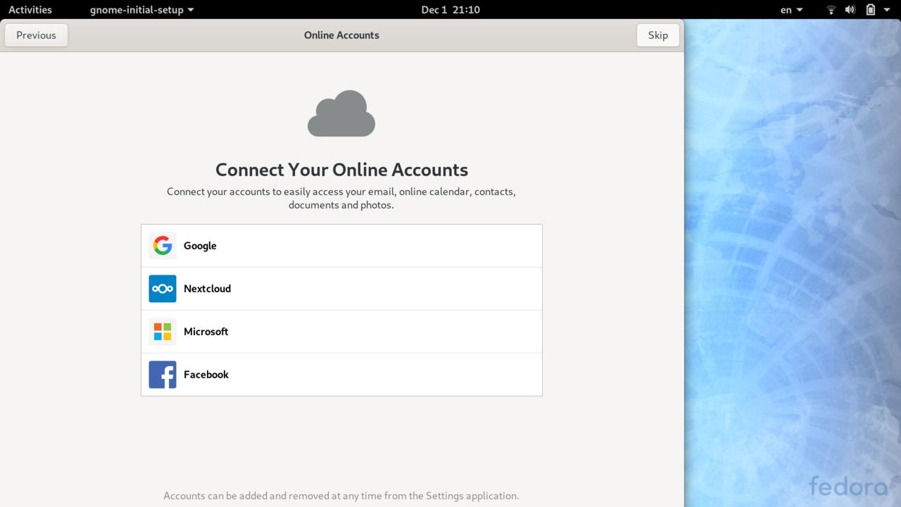 Gnome Initial Setup - Online Accounts