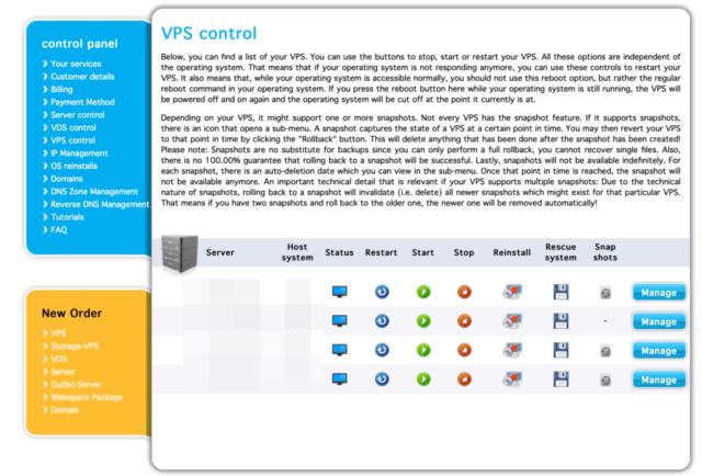Contabo VPS Control dashboard